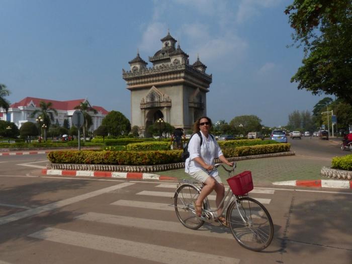 Riding near the Laos Arc de Triumph