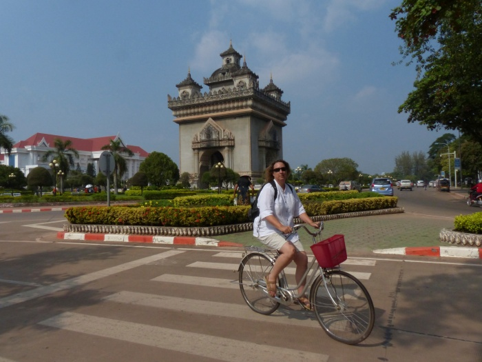 Riding near the Laos Arc de Triumph