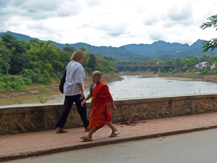 Claire and the Monk in Luang Prabang