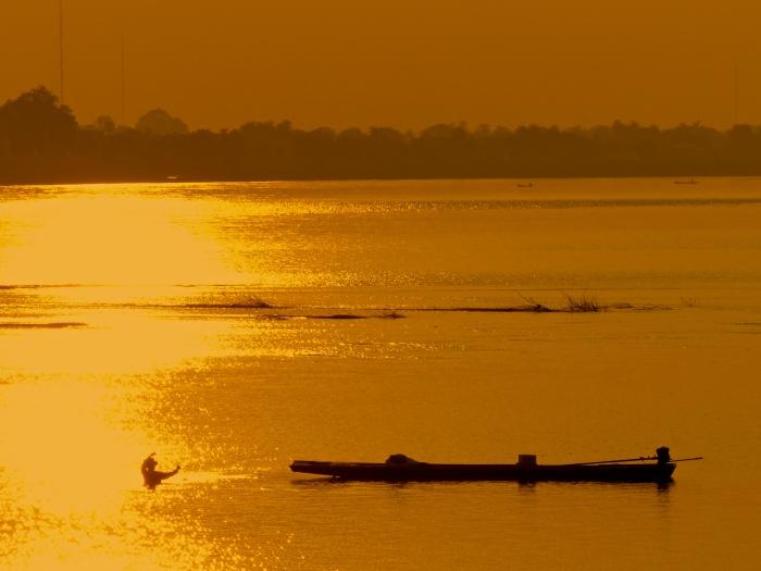 Mekong sunset fisherman