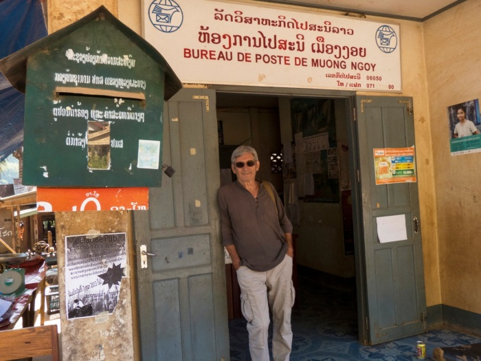 Michel in front of the Nong Khiaw Post office