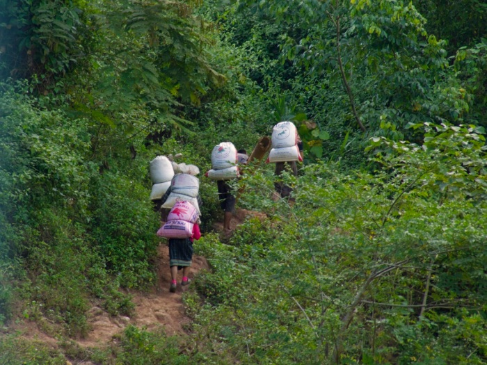 Villagers going up the hill