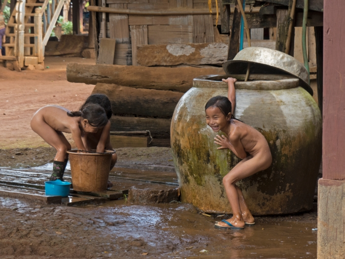 Kids bathing and playing happily