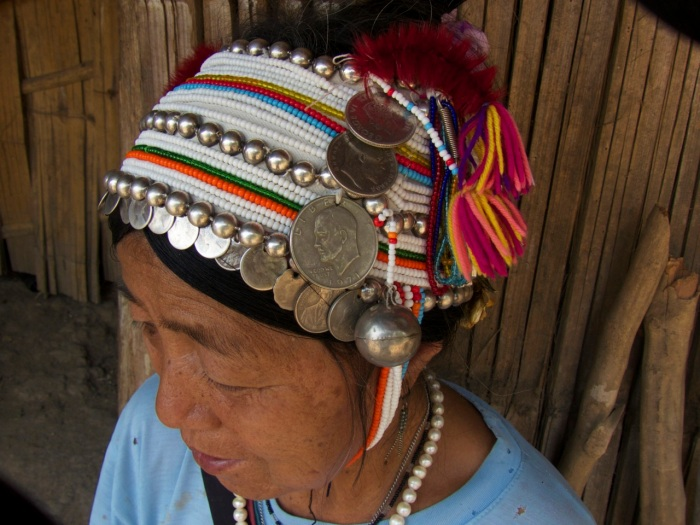 Close up of coins on this headdress