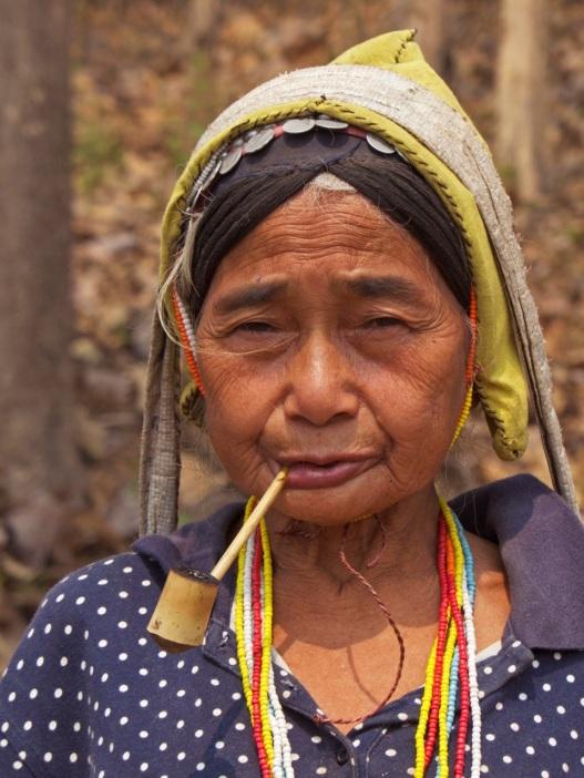 We saw this Ahka woman walking along the road