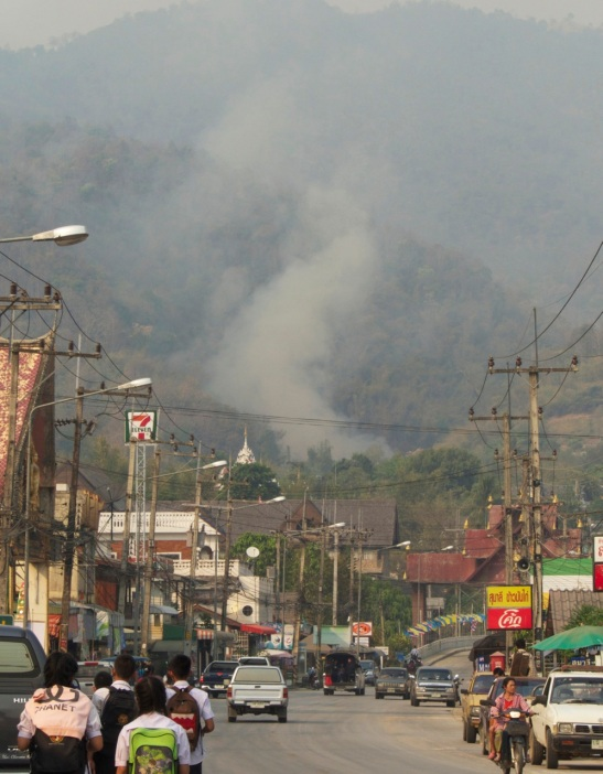 Fire on the hill near Tha Ton