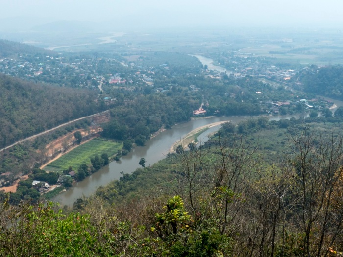 View from the temple on the hill of Tha Ton