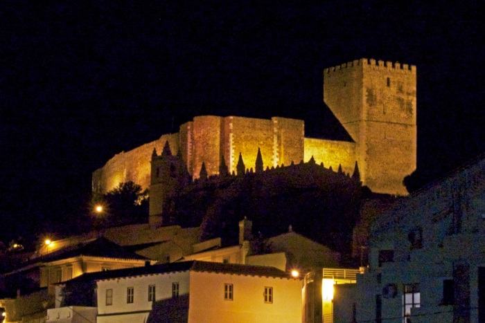 Mertola castle walls at night
