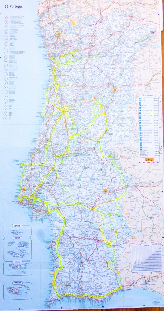 Our map...yellow is where we travelled