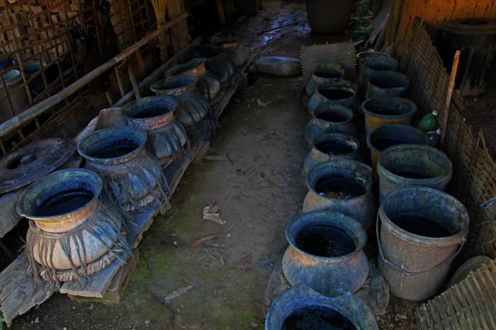 Indigo dye stored in pots