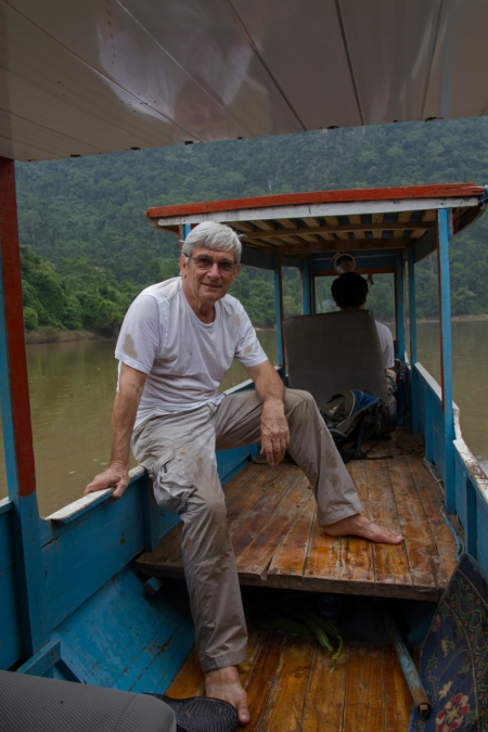 Michel, the jungle explorer, muddy but glad to be back on the boat
