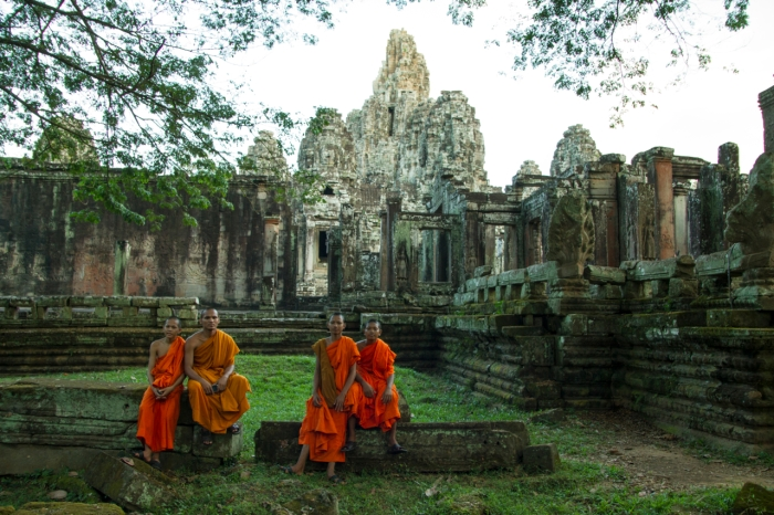 Ankor Wat and the monks who pose for Michel