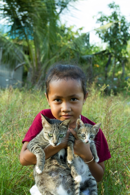 Young Girl with Cats